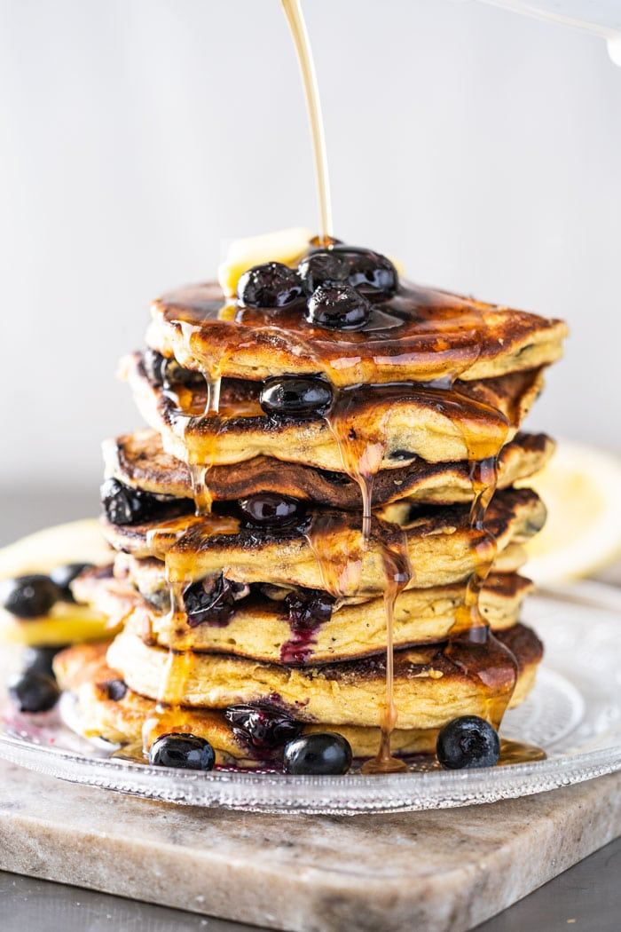 CHOCOLATE PANCAKE WITH BLUEBERRY BUTTER