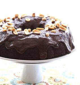 CHOCOLATE PEANUT BUCKEYE BUNDT CAKE